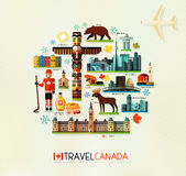 Canada Travel Collection. Vector Set of Various Canada Icons on a Circle Shape Royalty Free Stock Image
