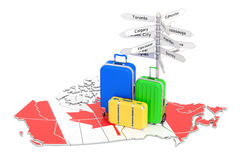 Canada travel concept. Canadian flag on map with suitcases and s. Ignpost, 3D Royalty Free Stock Photo