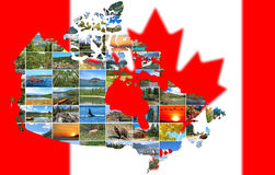 Canada travel concept. Canada Map  shape,silhouette maid of Canadian Landscapes photo isolated on a white background. National Parks and Landscapes. Concept Royalty Free Stock Photos