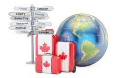 Canada travel concept. Suitcases with Canadian flag, signpost an Royalty Free Stock Images