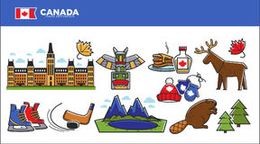 Canada travel destination advertisement with country symbols set Royalty Free Stock Photography