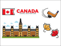 Canada travel destination ptomotional poster with country symbols Stock Image