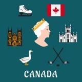 Canada travel flat icons and symbols Royalty Free Stock Photos