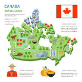 Canada Travel Guide skyline Flat Map Poster. Canada travel guide for tourists flat infographic poster with country map skyline landmarks and cultural symbols vector illustration