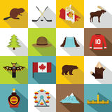 Canada travel icons set, flat style. Canada travel icons set. Flat illustration of 16 Canada travel vector icons for web Stock Illustration