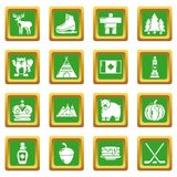 Canada travel icons set green square vector. Canada travel icons set vector green square isolated on white background Stock Photos