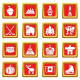 Canada travel icons set red square vector. Canada travel icons set vector red square isolated on white background Royalty Free Stock Photos