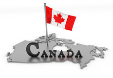 Canada Tribute. 3D rendered map of country with flag and logo Stock Photography