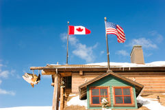 Canada and USA flags at a Fishing Resort Stock Photos