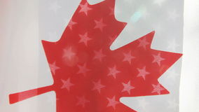 Canada and USA flags. Flags of the two countries blowing in the wind stock footage