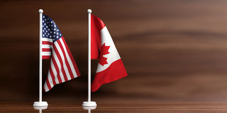 Canada and USA flags on wooden background. 3d illustration Royalty Free Stock Photo