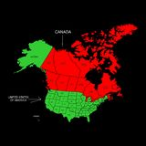 Canada and USA. The illustration - the map of the Canada and USA Royalty Free Stock Images