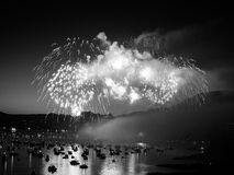 Canada, Vancouver - Annual Celebration of Light Fireworks Show Over the Marina. The fireworks in show hundreds of feet in the air make the boats around them royalty free stock photography