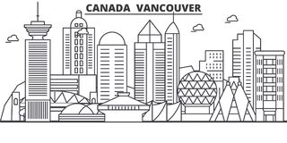 Free Canada, Vancouver Architecture Line Skyline Illustration. Linear Vector Cityscape With Famous Landmarks, City Sights Stock Photos - 101574403