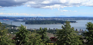 Canada, Vancouver: City Center, Stanley Park and Lions Gate Bridge Royalty Free Stock Images