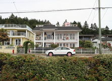Canada, Vancouver/White Rock, BC: Quaint Waterfront House and Car Stock Image