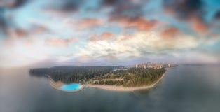 canada Vancouver Zmierzchu panoramiczny widok z lotu ptaka od Stanley normy Zdjęcie Royalty Free