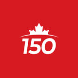 Canada 150. A vector maple leaf icon rising above a horizon with the number 150. This simple graphic represents the 150th anniversary of Canada Stock Photo