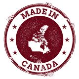 Canada vector seal. Vintage country map stamp. Grunge rubber stamp with Made in Canada text and map, vector illustration Stock Photo