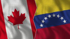 Canada and Venezuela Half Flags Together royalty free stock image