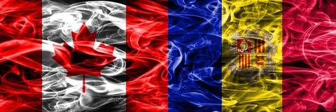 Canada versus zij aan zij geplaatste de rookvlaggen van Andorra Canadees en stock illustratie