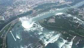 Canada view Niagara Falls. Aierial view of Niagara Falls from a helicopter Royalty Free Stock Photography