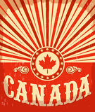 Canada vintage old poster with Canadian flag colors Stock Images