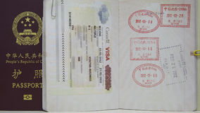 Canada VISA and China Passport Stock Photo