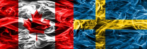 Canada vs Sweden smoke flags placed side by side. Canadian and S. Weden flag together stock illustration