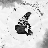 Canada watercolor map in black colors. Welcome to Canada poster with airplane trace and handpainted watercolor Canada map on crumpled paper. Vector Stock Images