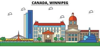 Canada, Winnipeg Architecture d'horizon de ville Image libre de droits