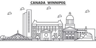 Canada, Winnipeg architecture line skyline illustration. Linear vector cityscape with famous landmarks, city sights. Design icons. Editable strokes Stock Photography