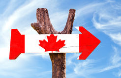Canada wooden sign with sky background Royalty Free Stock Images