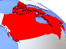 Canada on world map. Map of Canada on elegant silver 3D globe with blue oceans. 3D illustration Royalty Free Stock Photo