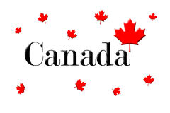 Canada Written On White Background With Maple Leaf 3D Rendering Stock Photos