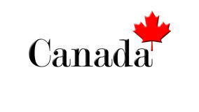Canada Written On White Background With Maple Leaf 3D Rendering Stock Photography