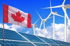 Canada zonne en windenergie, duurzame energieconcept met zonnepanelen - duurzame energie tegen het globale industrieel verwarmen  vector illustratie