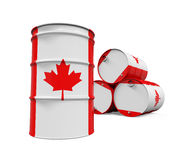 Canadaian Flag Oil Barrel Royalty Free Stock Photography