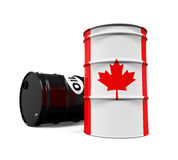 Canadaian Flag Oil Barrel Stock Photo