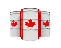 Canadaian Flag Oil Barrel Royalty Free Stock Images