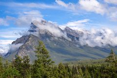 Canadaian Rockies. View of mountains in Canadian Rockies, AB, Canada stock photo