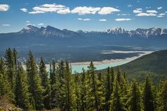 Canadain mountains from Allstone ridge trail near Nordegg. Canadian Rockies as famous place for vacation visiting, summer in mountains, beautiful bluebird day royalty free stock image