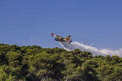 Canadair in action, firefighting plane extinguishing forest fire Stock Photo