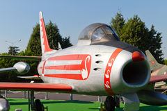 Canadair CL-13 Sabre. In Istanbul Aviation Museum on September 22, 2012 in Istanbul, Turkey. CL-13 was a jet fighter aircraft which maximum speed is 1142 km/h Stock Photography