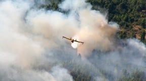 Canadair gegen Feuer Stockbilder