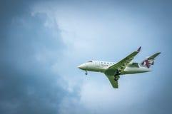 Canadair pretendenta A7-CEG Katar kierownictwo Przed lądować wewnątrz Obrazy Stock