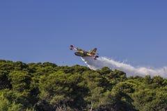 Canadair w akci, pożarniczy samolot gasi pożar lasu Zdjęcie Stock