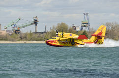 Canadair, water bomber plane in training in the harbor Royalty Free Stock Photos