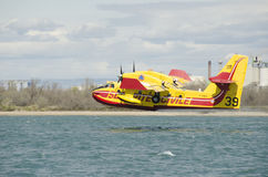 Canadair, water bomber plane in training Royalty Free Stock Image