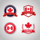 Canadas County design. Maple leaf icon. Seal stamp illustration. Canadas country represented by his flag of maple leaf Royalty Free Stock Images